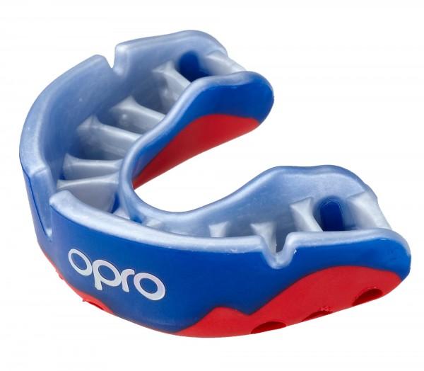 OPRO Zahnschutz Platinum Senior blue/pearl/red